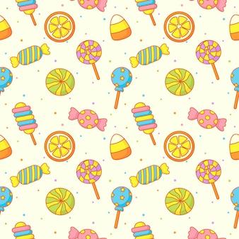 Kawaii słodkie pastelowe cukierki słodkie desery z śmieszne twarze kreskówka wzór z różnymi typami na białym tle do kawiarni lub restauracji.