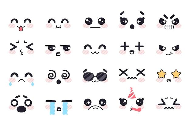 Kawaii słodkie twarze japońska manga emocje strach płakać gniew apatia śmierć radość niespodzianka anime doodle zestaw