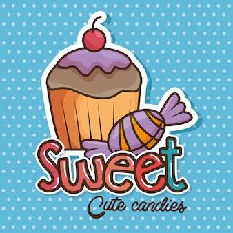 Kawaii słodycze i cukierki kreskówka