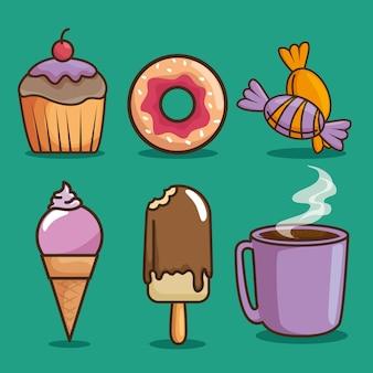 Kawaii Słodycze I Cukierki Kreskówka Premium Wektorów