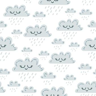 Kawaii śmieszne szare chmury wzór.