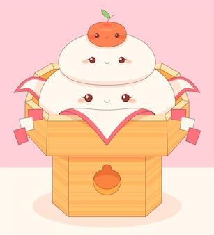 Kawaii smiley kagamimochi do jedzenia