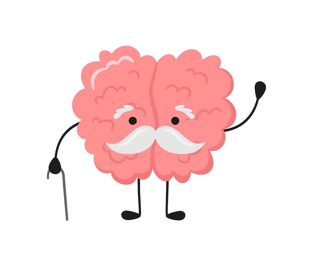 Kawaii stara postać mózgu z szarymi wąsami i laską. symbol choroby alzheimera, demencji i innych problemów związanych z wiekiem. wektor ilustracja kreskówka na białym tle