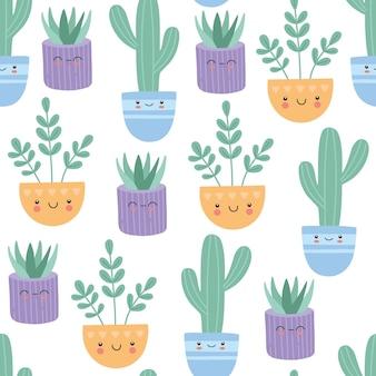Kawaii sukulenty kaktus z uśmiechniętą twarzą bez szwu, uroczy