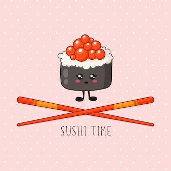 Kawaii sushi, bułka i pałeczki - logo lub baner na kolorowym tle, tradycyjna kuchnia japońska