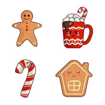 Kawaii świąteczne postacie, zestaw słodkich potraw - kubek gorącego napoju lub napoju, trzciny cukrowej, piernika i domu, desery noworoczne