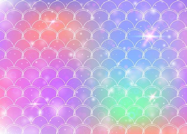 Kawaii syrenka tło wzór księżniczki tęczy łuski.
