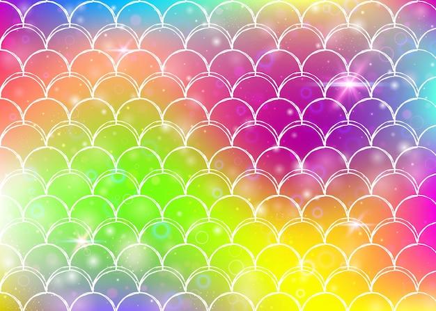 Kawaii syrenka tło z księżniczką tęczy wzór łuski. transparent rybi ogon z magicznymi iskierkami i gwiazdami. morze fantasy zaproszenie na dziewczęcą imprezę. fluorescencyjne tło syrenka kawaii.