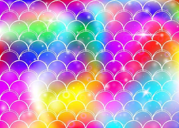 Kawaii syrenka tło z księżniczką tęczy wzór łuski. transparent rybi ogon z magicznymi iskierkami i gwiazdami. morze fantasy zaproszenie na dziewczęcą imprezę. kolorowe tło syrenka kawaii.