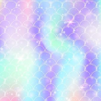 Kawaii syrenka tło z księżniczką tęczy wzór łuski. transparent rybi ogon z magicznymi iskierkami i gwiazdami. morze fantasy zaproszenie na dziewczęcą imprezę. kreatywne tło syrenka kawaii.