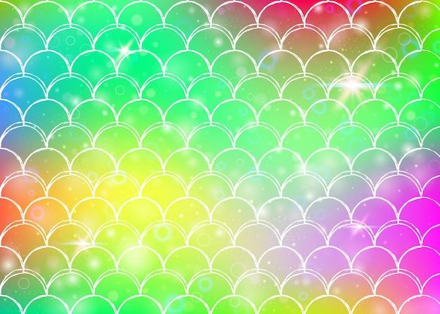 Kawaii syrenka tło z księżniczką tęczy wzór łuski. transparent rybi ogon z magicznymi iskierkami i gwiazdami. morze fantasy zaproszenie na dziewczęcą imprezę. perłowe tło syrenka kawaii.