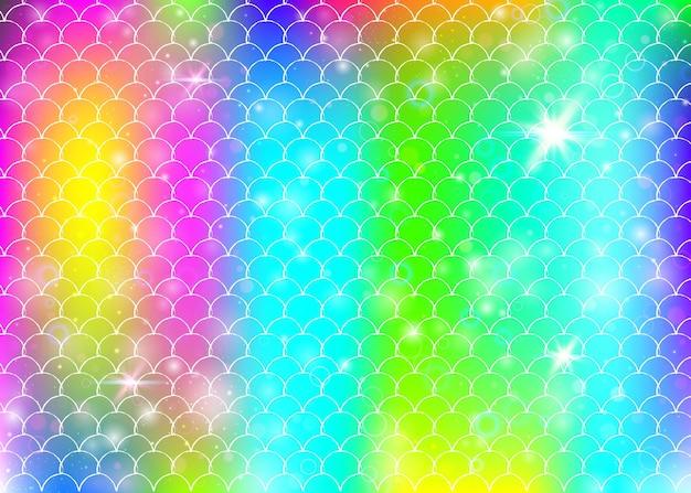 Kawaii syrenka tło z księżniczką tęczy wzór łuski. transparent rybi ogon z magicznymi iskierkami i gwiazdami. morze fantasy zaproszenie na dziewczęcą imprezę. wielokolorowe tło syrenka kawaii.