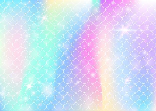 Kawaii syrenka tło z księżniczką tęczy wzór łuski. transparent rybi ogon z magicznymi iskierkami i gwiazdami. morze fantasy zaproszenie na dziewczęcą imprezę. żywe tło kawaii syrenka.