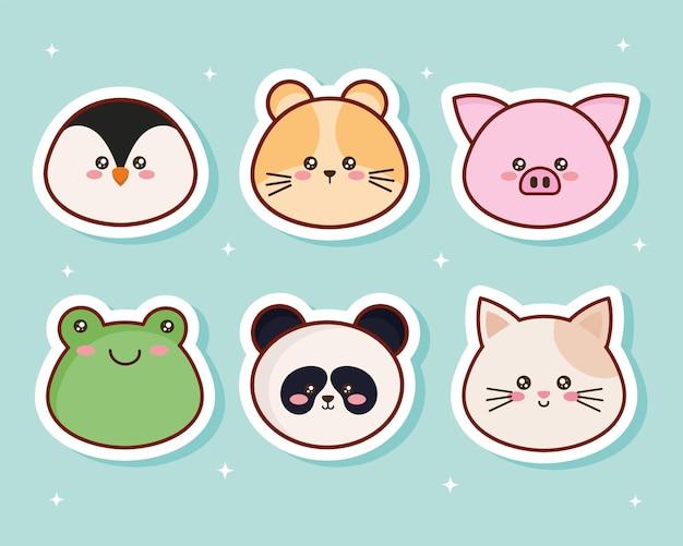 Kawaii sześć postaci zwierząt