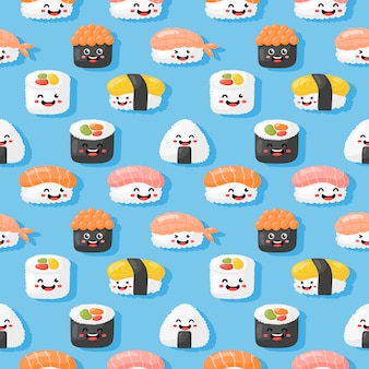 Kawaii szwu wzór ładny zabawny sushi i sashimi stylu kreskówka na białym tle. wektor.