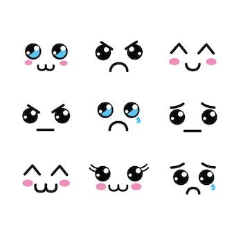 Kawaii twarze ikona oczy