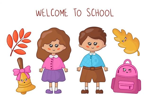 Kawaii uczniowie lub studenci - chłopiec i dziewczynka oraz przybory szkolne