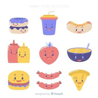 Kawaii uśmiechnięta paczka żywności