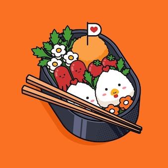 Kawaii w japońskim pudełku śniadaniowym bento