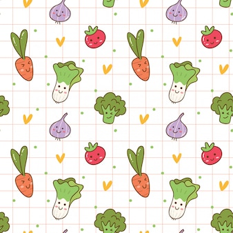 Kawaii warzywa bezszwowe tło