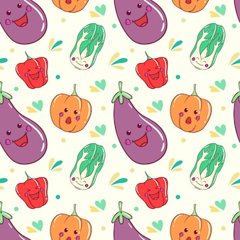 Kawaii warzywa wzór z doodle art