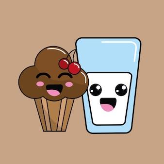 Kawaii wiśnia ciasto ikona i mleka