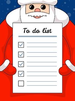 Kawaii zabawny święty mikołaj trzymający list do zrobienia papierowe zadania świąteczne i szczęśliwego nowego roku
