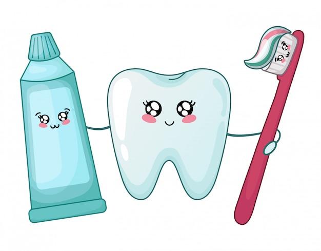 Kawaii zdrowy ząb i pasta do zębów i szczotka
