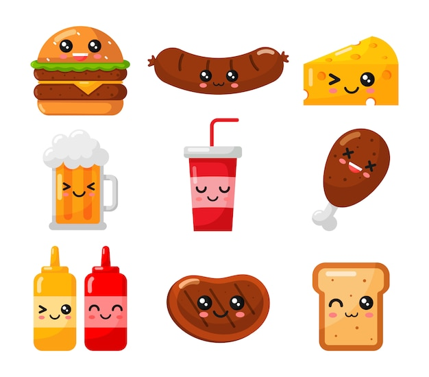 Kawaii zestaw fast food styl kreskówka na białym tle