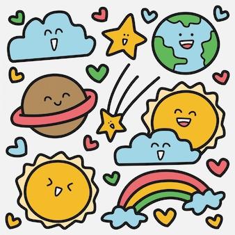 Kawaii ziemi doodle szablon