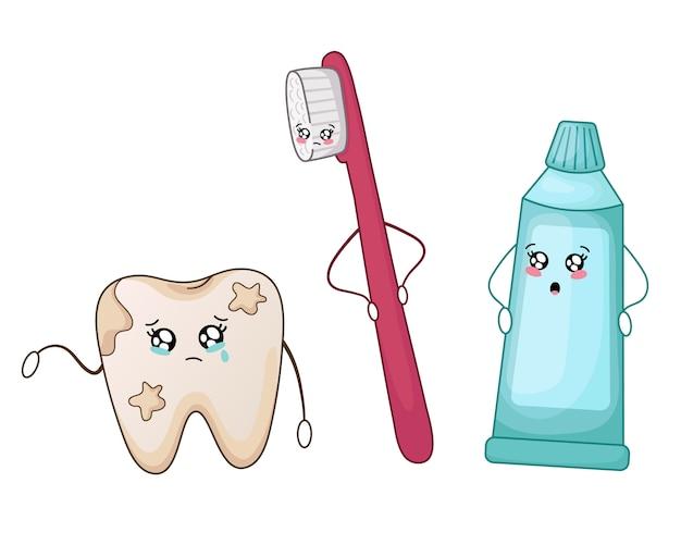 Kawaii zły chory brudny ząb i pasta do zębów i szczotka