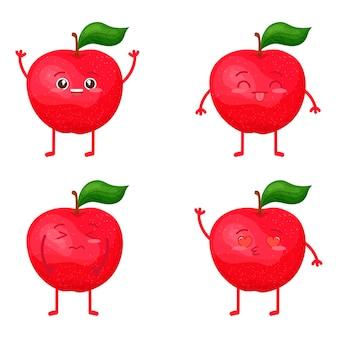 Kawaii Znak Jabłko. Czerwony. Dojrzałe Owoce W Różnych Emocjach. Premium Wektorów