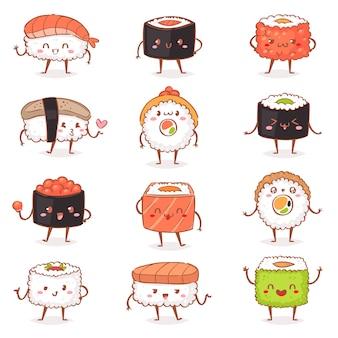 Kawaiivector sushi japońskie jedzenie sashimi roll emotikonów lub nigiri emoji owoce morza z ryżem w japonii restauracja ilustracji kuchnia japońska z emocjami twarzy zestaw na białym tle