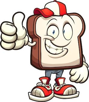 Kawałek białego chleba postać z kreskówki