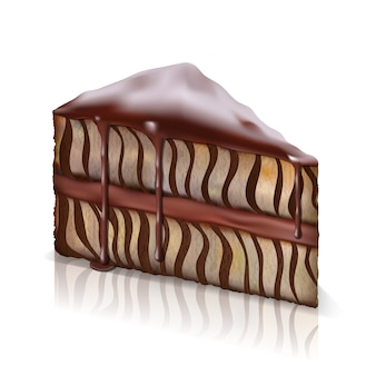 Kawałek biszkoptu ze spływającą czekoladą