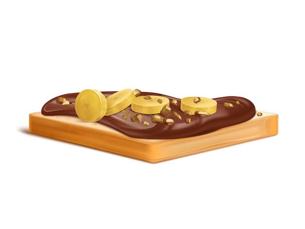 Kawałek chleba pszennego z masłem orzechowym, kremem czekoladowym lub nugatem rozprowadzany realistycznie z plasterkami bananów