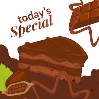 Kawałek ciasta czekoladowego i posypka kakaowa, dziś specjalnie w bistro lub piekarni. pyszne ciastko na śniadanie lub lunch. promocyjny baner lub plakat, zniżki w kawiarni lub restauracji. wektor w mieszkaniu