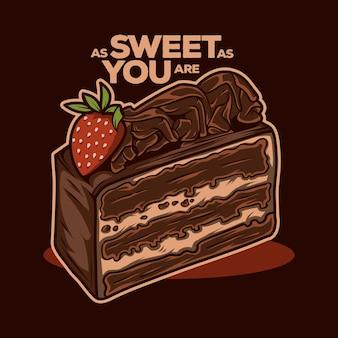 Kawałek ciasta czekoladowego wektor ilustracja projektu