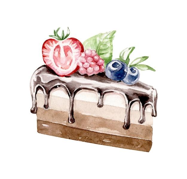 Kawałek ciasta ozdobiony kremem czekoladowym i jagodami
