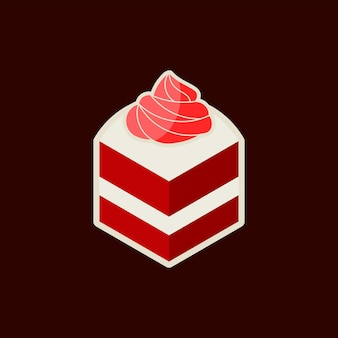 Kawałek czerwonego aksamitnego nadruku naklejki na ciasto