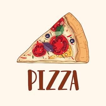 Kawałek lub kawałek apetycznej pysznej klasycznej pizzy na białym tle