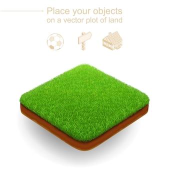 Kawałek ogrodu. 3d realistyczny wektor. kwadratowa działka z zieloną trawą i brązowym wykopem gleby.