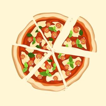Kawałek pizzy margherita z pomidorem, bazylią i serem mozzarella na wierzchu.