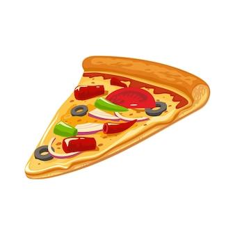 Kawałek pizzy meksykańskiej. płaskie ilustracja na białym tle wektor plakat, menu, logotyp, broszura, sieci web i ikony. białe tło.