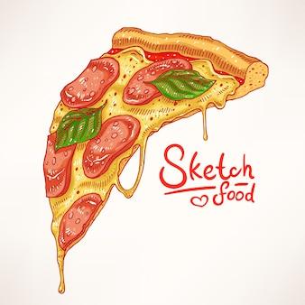 Kawałek ręcznie rysowanej apetycznej pizzy pepperoni
