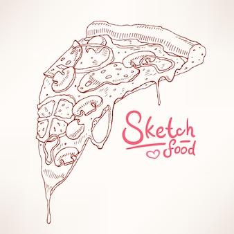 Kawałek ręcznie rysowanej apetycznej pizzy