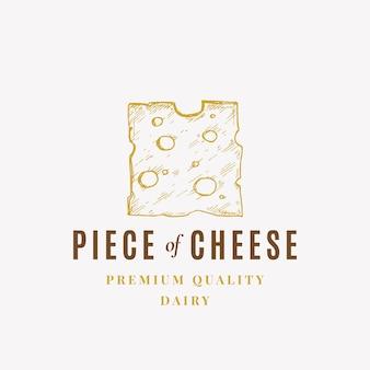 Kawałek sera abstrakcyjny znak symbolu lub logo szablon ręcznie rysowane szkic ilustracji z premi...