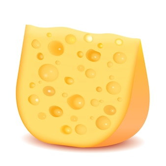 Kawałek sera na białym tle