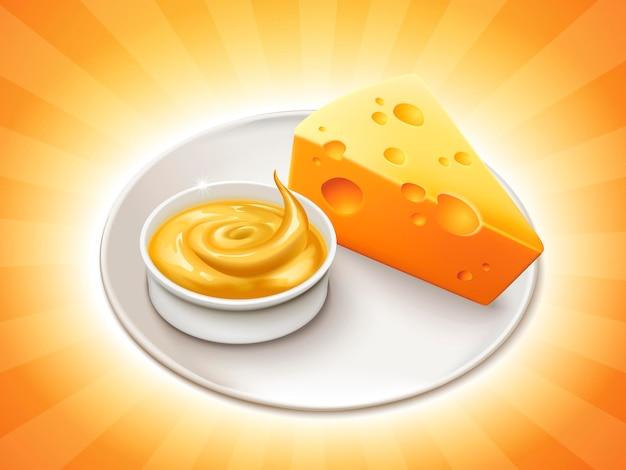 Kawałek sera z miską sosu serowego wyizolowany na pasiastej powierzchni na ilustracji 3d