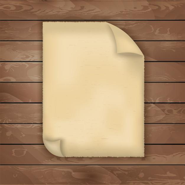 Kawałek starego papieru na tekstury drewna